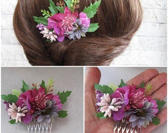 Beach wedding  flowers hair comb, bridesmaid gift, Floral head piece, Bridal  accessory, pettine sposa, mother's day gift