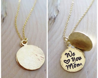 Mother of the Groom Gift, Mother of bride necklace, secret message necklace, hand stamped phrase text, Otis B, silver or gold disc necklace