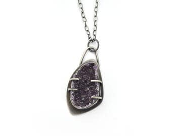 Amethyst Druzy Pendant Necklace, Sterling Silver and Amethyst Necklace, Unique Amethyst Pendant, Amethyst Jewelry, February Birthstone