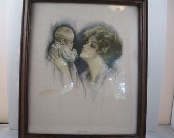 "Stunning Harrison Fisher Print of ""Baby Mine"""