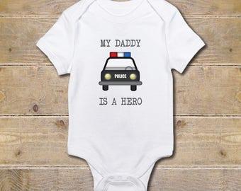 Police Officer Onesie, Policeman, Cop, Baby Shower Gift, Shirt, Trooper, Sheriff, Baby Boy, Baby Girl, Daddy, Hero