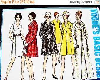 on SALE 25% Off 1960s Vogue Pattern Dress with Coat Pattern size 14 Princess Seamed Dress, 2 lengths Coat, Street or Evening Length Vintage