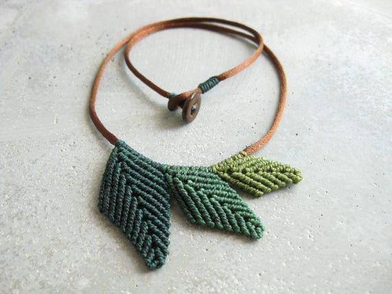 RESERVED . Leaf Necklace Micro Macrame Jewelry . Botanical Elven Natural Woodland Boho Hippie Chic Organic . Design by raiz