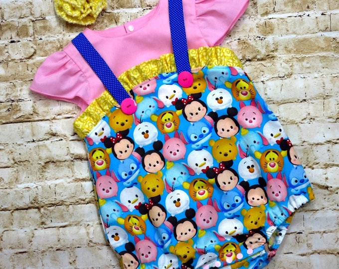Featured listing image: Disney Tsum Tsum - 1st Birthday Outfit  - Disney Vacation - Baby Girls Romper - Baby Girl Shower Gift - Baby Girl Clothes  - Newborn/18 mos