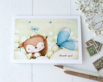 """greeting card -card - illustration - fox - butterfly - flowers - garden - friends - birthday - thank you - thinking of you - """"BY CHANCE!"""""""