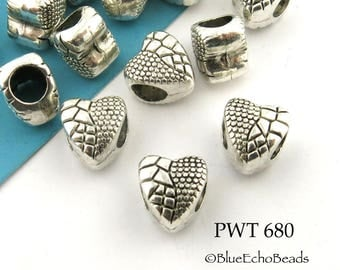 9mm Large Hole Pewter Heart Beads with Textured Scale Pattern (PWT 680) 10 pcs BlueEchoBeads