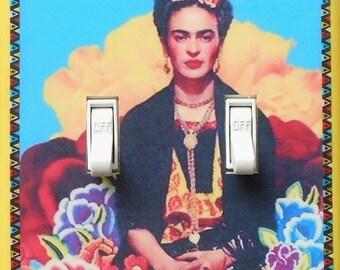 Frida DOUBLES- Rocker & switch covers w/ MATCHING SCREWS- Frida altered art Frida Kahlo art prints Frida wall art light switch cover plates