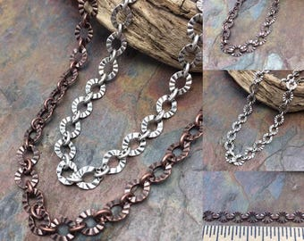 Crinkle Etched Chain Necklace or Bracelet Adjustable Length, Your Choice Antique Silver, or Copper Finish, Free USA Shipping