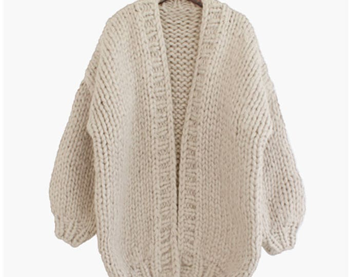 Hand knit oversize woman sweater chunky slouchy cream cardigan