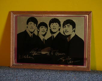 70s The Beatles mirror memorabilia wood frame music 1970s