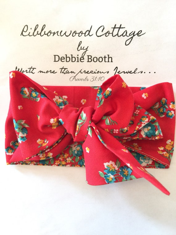 "Baby HeadWrap Headband- Vintage Red and Aqua Floral Fabric 4"" x 44"""