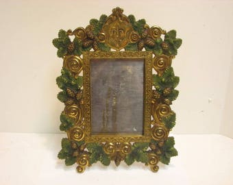 Antique Bradley & Hubbard Frame Mirror Frame Fleur-de-lis Acorn Leaves Vintage Arts Crafts Metal Frame Scouts