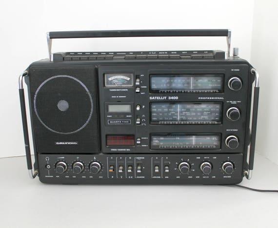 Grundig Satellit 3400 Shortwave Radio, Professional Portable World Band Short Wave Works Parts or Repair