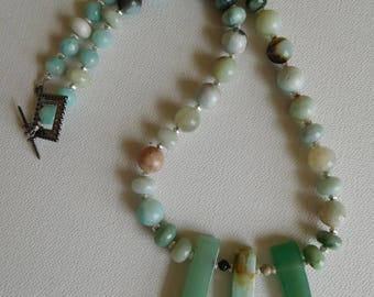 Amazonite and Jasper with Green Aventurine Beaded Necklace