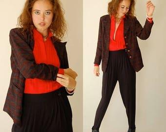 SALE 25% off sundays 40s Draped Blazer Vintage 80s 40s Classic Status Print Draped Blazer Jacket  (s m)