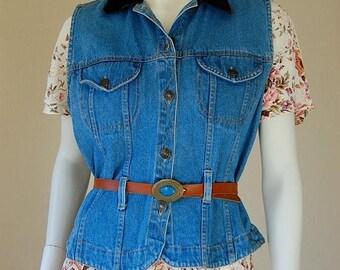 SALE 25% off sundays Denim Vest Vintage 80s Blue Stonewashed Belted Boho Indie Denim Jean Vest (s m)