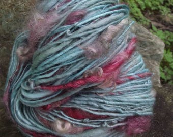 Handspun art yarn, handpainted wool yarn, Polwarth wool and mohair locks-Serendipity