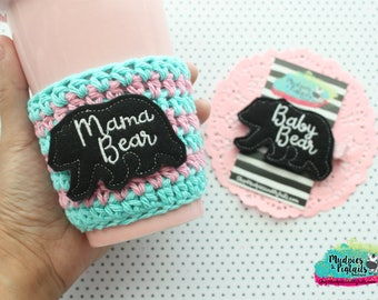 Crochet Cup Cozy { Mama Bear } mommy and me, aqua, pink, mug sleeve, baby girl. hair clippies, toddler bows starbucks, water bottle, crochet