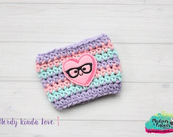 Valentine's Day Crochet Coffee Sleeve { Nerdy Kinda Love } pastel, lavender, pink, knit mug sweater, starbucks gift, frapuccino holder