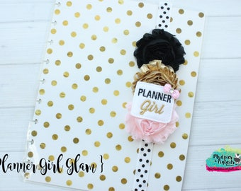 Gold pink Planner band or paper clip { Planner Girl } glitter pink, black and gold kikki k, filofax erin condren, bible band
