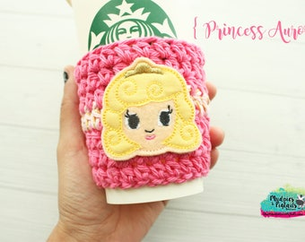 Princess Coffee Cozy { Aurora } Sleeping Beauty, knit mug sweater, cup sleeve tea, latte, planner