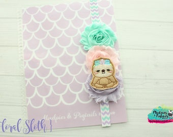 Planner band { Floral Sloth } animal pastel, pink, aqua lavender spring band planner girl accessories bible band, baby headband