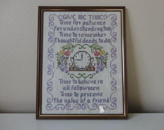 VINTAGE 'give me time...' framed CROSS STITCH