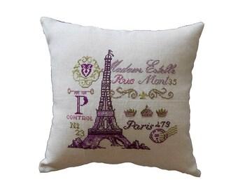 Cross stitch pattern FRENCH POSTCARD -needlepoint,french,paris,diy embroidery,needlepoint pattern,pillow,chic,eiffel tower,Anette Eriksson
