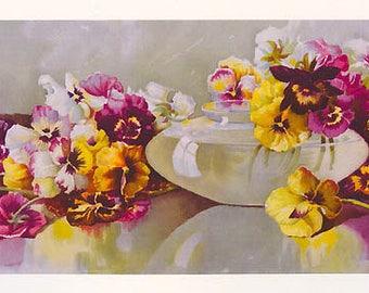 Pansies, Art Print, Half Yard Long, Maud Stumm, Pansy, Shabby Chic Decor