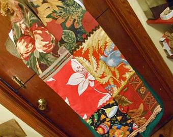 Comfy TEQUILA & NACHOS PATCHWORK Scarf 7 Autumn Guy Theme Prints Tan Leaves Russet Apples Bluebird, Flannel Back, Soft Warm Chill Chaser