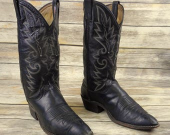 Mens 10 D Cowboy Boots Dan Post Distressed Black Leather Western Rockabilly