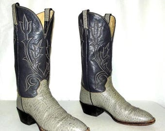 Two tone Grey Hondo Cowboy Boots - mens size 9.5 B Narrow / womens size 10.5 to 11