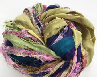 Sari Silk Ribbon, Reclaimed, Recycled, Fair Trade, Skein no. 329, 70 yds.