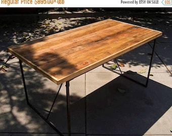 Wood and Metal dining table / Desk/ Reclaimed / Industrial