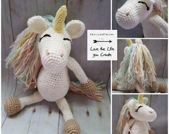 Large Stuffed Crocheted Unicorn