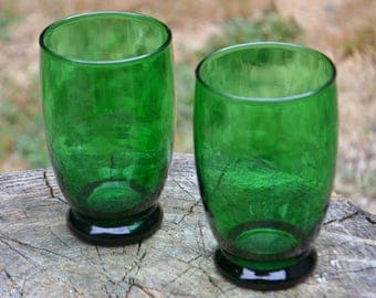 Pair of Mid-Century Forest Green Glass Baltic Tumblers, 10 oz.