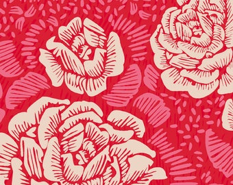 Fiesta Flowers Fabric - Rose Remix Putty/Red/Pink By Cinneworthington - Red Roses Fiesta Floral Home Decor Fabric With Spoonflower