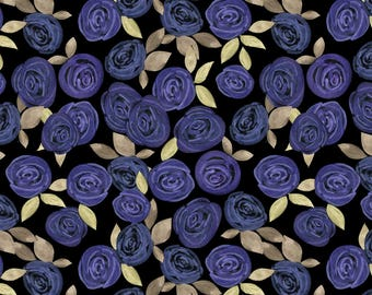 Watercolor Blue Roses Fabric - Watercolor Blue Roses By Fuzzyfox - Watercolor Floral Home Decor Cotton Fabric By The Yard With Spoonflower