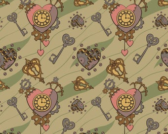 Steampunk Valentine Fabric - Clockwork Heart Tan By Rastea - Steampunk Valentine Decor Cotton Fabric By The Yard With Spoonflower