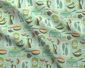 Vintage Kitchen Fabric - In The Kitchen By Studiojenny - Mid Century Modern Kitchen Home Decor Cotton Fabric By The Yard With Spoonflower