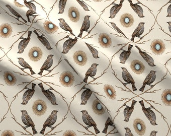 Blackbirds Fabric - Red-Winged Blackbird And Her Nest, Off White By Turnbucklefarm - Bird Animal Cotton Fabric By The Yard With Spoonflower
