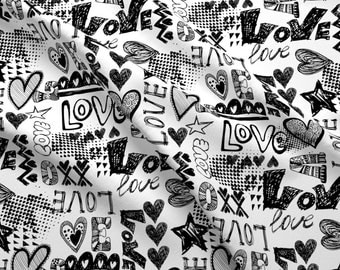 Graffiti Love Fabric - Graffiti Love By Hipkiddesigns - Black and White Grunge Graffiti Love Cotton Fabric By The Yard With Spoonflower