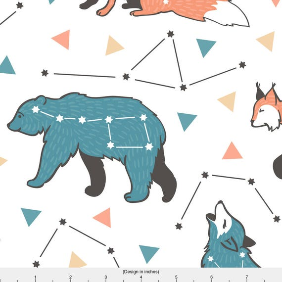 Animal constellations fabric star hipster animals by for Constellation fleece fabric