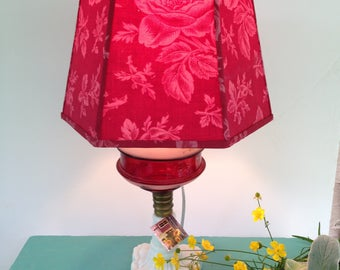 "French Red Lamp Shade, Hex Lampshade Rare Vintage Fabric, 7""t x 10""b x 7"" h clip top, Lights up Warm, You will love to turn it on!"