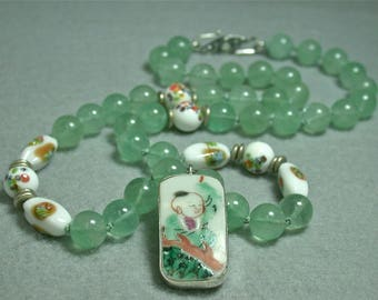 Antique Qing Porcelain Human Figure Pendant Knotted Bead Necklace,Vintage Mint Fluorite Beads, Japanese Millefiori Glass Beads