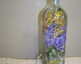 Lighted Bottle Lilacs and Forsythia