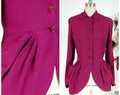 Vintage 1940s Jacket - Bewitching Fuchsia Rayon Crepe Femme Fatale 40s Top with Sensationally Swagged Peplum