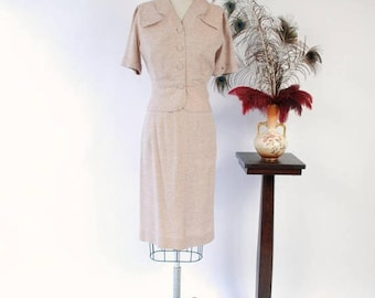 Memorial Weekend Sale - 1950s Vintage Suit - Light Tan Tailored Short Sleeved Suit with White Fleck and Short Peplum