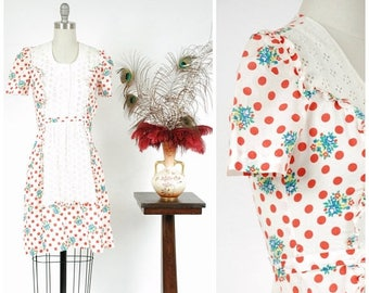 Memorial Weekend Sale - Vintage 1930s Dress - Summer 2017 Lookbook - The Morning Bell Dress - Late 30s Polka Dot and Floral Cotton with Whit