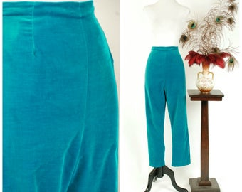 Vintage 1950s Pants - Bright Turquoise Blue-Green Velvet Rockabilly Cigarette Pants with High Waist